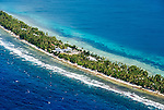 Lagoon and ocean aerial of Funafuti, Tuvalu