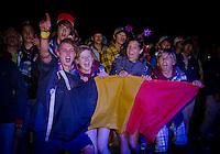 Happy Belgians during Kate Ryan's performance.  Photo: Malin Duveblad/Scouterna