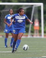 Boston Breakers midfielder Mariah Noguiera (20) looks to pass. In a National Women's Soccer League Elite (NWSL) match, Sky Blue FC (white) defeated the Boston Breakers (blue), 3-2, at Dilboy Stadium on June 16, 2013.
