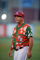 "Palm Beach Cardinals manager Dann Bilardello (11) during a game against the Charlotte Stone Crabs on July 22, 2017 at Roger Dean Stadium in Palm Beach, Florida.  The Cardinals wore special ""Ugly Sweater"" jerseys for Christmas in July.  Charlotte defeated Palm Beach 5-2.  (Mike Janes/Four Seam Images)"