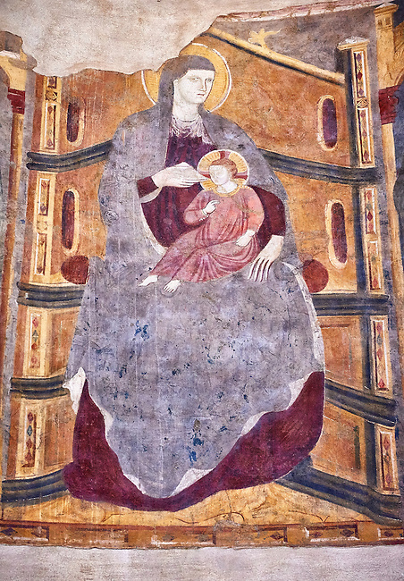 Frescoes depicting the Madonna with Chid on the interior of the Romanesque Baptistery of Parma, circa 1196, (Battistero di Parma), Italy