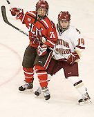Karell Emard (SLU - 76), Emily Pfalzer (BC - 14) - The Boston College Eagles defeated the visiting St. Lawrence University Saints 6-3 (EN) in their NCAA Quarterfinal match on Saturday, March 10, 2012, at Kelley Rink in Conte Forum in Chestnut Hill, Massachusetts.