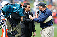 Virginia Cavaliers head coach Dom Starsia talks with the media during the game in Charlottesville, VA. Johns Hopkins defeated Virginia 11-10 in overtime. Photo/Andrew Shurtleff
