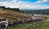 Picture by Allan McKenzie/SWpix.com - 02/05/2015 - Cycling - Tour de Yorkshire - Wakefield to Leeds, Cow & Calf, Ilkley, England - The peloton makes it's way up the Cote de Cow & Calf.