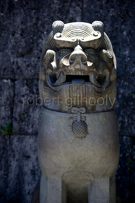 "Photo shows one of the stone guardian lions  that marshal Kankaimon gate inside the Shuri-jo Castle Park  in Naha, Okinawa Prefecture, Japan, on May 28, 2012. Kankaimon is the front gate of the castle and ""kankai"", which means ""welcome"", indicates that it was the gate at which visitors, such as Chinese envoys, were greeted upon arrival."