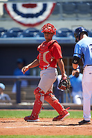 Palm Beach Cardinals catcher Chris Rivera (25) during a game against the Charlotte Stone Crabs on April 10, 2016 at Charlotte Sports Park in Port Charlotte, Florida.  Palm Beach defeated Charlotte 4-1.  (Mike Janes/Four Seam Images)