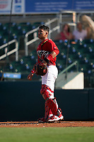 Palm Beach Cardinals catcher Ivan Herrera (34) during a Florida State League game against the Clearwater Threshers on August 10, 2019 at Roger Dean Chevrolet Stadium in Jupiter, Florida.  Clearwater defeated Palm Beach 11-4.  (Mike Janes/Four Seam Images)