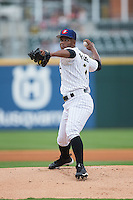 Charlotte Knights starting pitcher Miguel Chalas (7) in action against the Gwinnett Braves at BB&T BallPark on July 3, 2015 in Charlotte, North Carolina.  The Braves defeated the Knights 11-4 in game one of a day-night double header.  (Brian Westerholt/Four Seam Images)