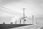 Route 54, Northumberland County, PA with telephone poles and PPL power plant.