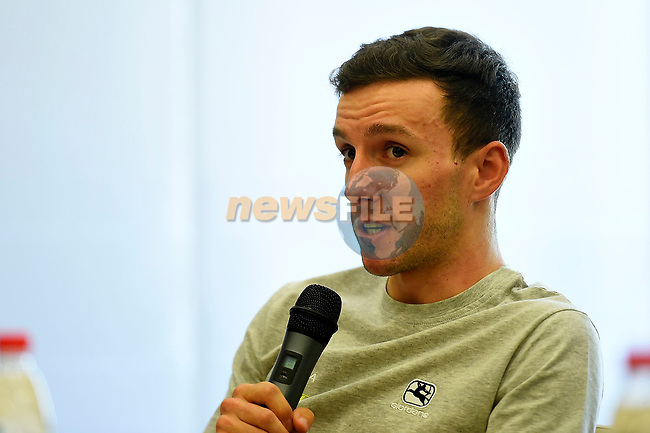 Adam Yates (GBR) Orica-Scott at the top riders press conference on the eve of the race of the two seas, 52nd Tirreno-Adriatico by NamedSport running from the 8th to 14th March, Italy. 7th March 2017.<br /> Picture: La Presse/Fabio Ferrari | Cyclefile<br /> <br /> <br /> All photos usage must carry mandatory copyright credit (&copy; Cyclefile | La Presse)