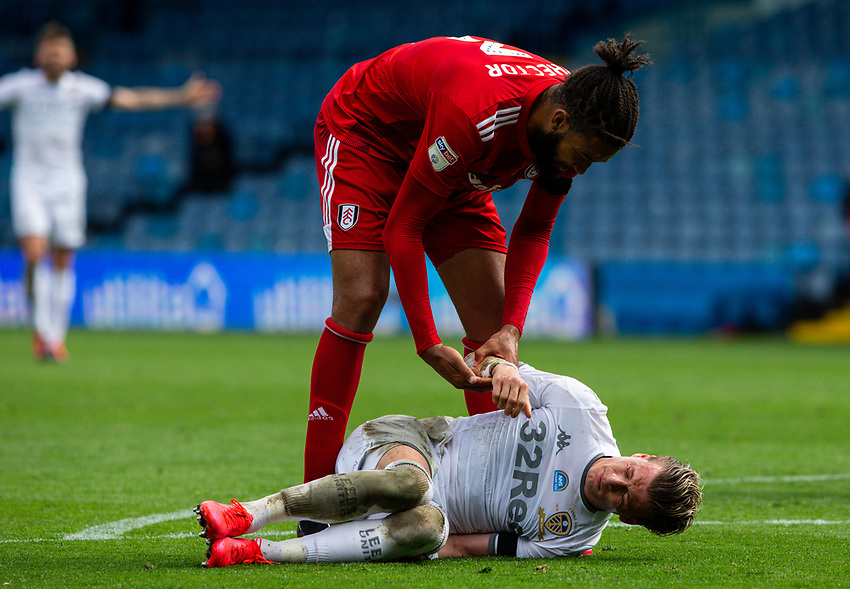 Fulham's Michael Hector helps Leeds United's Ezgjan Alioski to his feet<br /> <br /> Photographer Alex Dodd/CameraSport<br /> <br /> The EFL Sky Bet Championship - Leeds United v Fulham - Wednesday 24th June 2020 - Elland Road - Leeds<br /> <br /> World Copyright © 2020 CameraSport. All rights reserved. 43 Linden Ave. Countesthorpe. Leicester. England. LE8 5PG - Tel: +44 (0) 116 277 4147 - admin@camerasport.com - www.camerasport.com<br /> <br /> Photographer Alex Dodd/CameraSport<br /> <br /> The Premier League - Newcastle United v Aston Villa - Wednesday 24th June 2020 - St James' Park - Newcastle <br /> <br /> World Copyright © 2020 CameraSport. All rights reserved. 43 Linden Ave. Countesthorpe. Leicester. England. LE8 5PG - Tel: +44 (0) 116 277 4147 - admin@camerasport.com - www.camerasport.com
