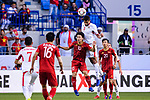 Tareq Khattab of Jordan (top) fights for the ball with Nguyen Cong Phuong of Vietnam (C) during the AFC Asian Cup UAE 2019 Round of 16 match between Jordan (JOR) and Vietnam (VIE) at Al Maktoum Stadium on 20 January 2019 in Dubai, United Arab Emirates. Photo by Marcio Rodrigo Machado / Power Sport Images