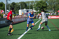 Boston, MA - Saturday June 24, 2017: Adriana Leon and Abby Erceg during a regular season National Women's Soccer League (NWSL) match between the Boston Breakers and the North Carolina Courage at Jordan Field.
