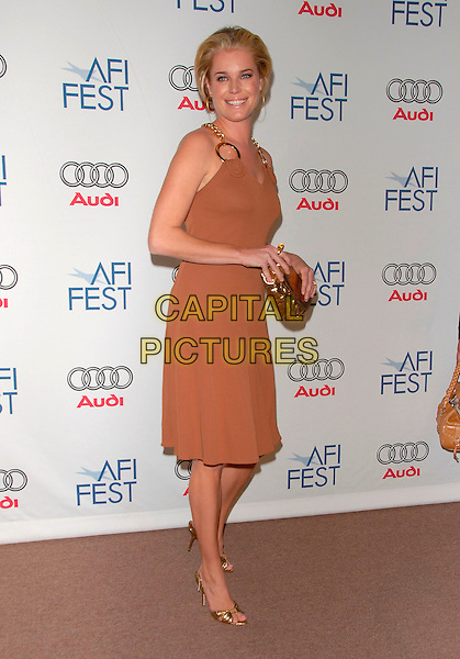 REBECCA ROMIJN.attends AFI Film Festival Screening of Lies & Alibis held at the Arclight Rooftop in Hollywood, California, USA, November 10th 2006.full length gold discs circles chain halterneck dress strap brown beige shoes clutch bag.Ref: DVS.www.capitalpictures.com.sales@capitalpictures.com.©Debbie VanStory/Capital Pictures