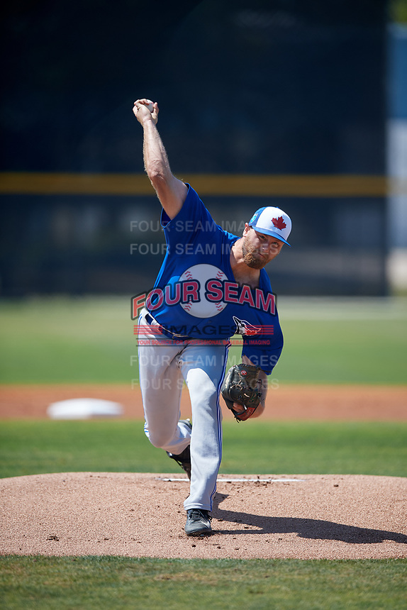 Toronto Blue Jays pitcher Justin Dillon (72) during a Minor League Spring Training game against the New York Yankees on March 18, 2018 at Englebert Complex in Dunedin, Florida.  (Mike Janes/Four Seam Images)