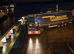 Loading heavy goods vehicle on to the overnight ferry to Netherlands at the port of Harwich, Essex, England