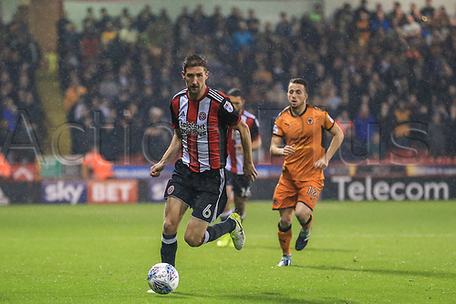 27th September 2017, Bramall Lane, Sheffield, England; EFL Championship football, Sheffield United versus Wolverhampton Wanderers; Chris Basham of Sheffield United breaks with the ball
