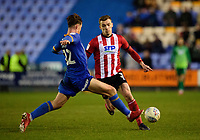 Lincoln City's Harry Toffolo battles with Shrewsbury Town's Ryan Sears<br /> <br /> Photographer Andrew Vaughan/CameraSport<br /> <br /> The EFL Sky Bet League One - Shrewsbury Town v Lincoln City - Saturday 11th January 2020 - New Meadow - Shrewsbury<br /> <br /> World Copyright © 2020 CameraSport. All rights reserved. 43 Linden Ave. Countesthorpe. Leicester. England. LE8 5PG - Tel: +44 (0) 116 277 4147 - admin@camerasport.com - www.camerasport.com