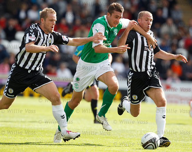 Colin Nish tries to go past St Mirren's Jure Travner and Garry Brady