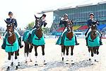 (L-R) <br /> € Kazuki Sado, <br />  Akane Kuroki, <br /> Masanao Takahashi, <br />  Shunsuke Terui (JPN), <br /> AUGUST 20, 2018 - Equestrian : <br /> Dressage Team Medal ceremony <br /> at Jakarta International Equestrian Park <br /> during the 2018 Jakarta Palembang Asian Games <br /> in Jakarta, Indonesia. <br /> (Photo by Naoki Nishimura/AFLO SPORT)