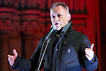 "© Joel Goodman - 07973 332324 .  03/02/2015 . Manchester , UK . TERRY CHRISTIAN speaks at the demonstration . Demonstration organised by the Labour Party on the steps of Manchester City Council in Albert Sqaure , Manchester , under the banner ""manVcam"" ( Manchester vs Cameron ) . Organisers say Manchester - along with Liverpool and Birmingham - have suffered larger cuts than other regional authorities , whilst southern regions such as Surrey , Hampshire and West Sussex have all seen increases in government funding . Photo credit : Joel Goodman"