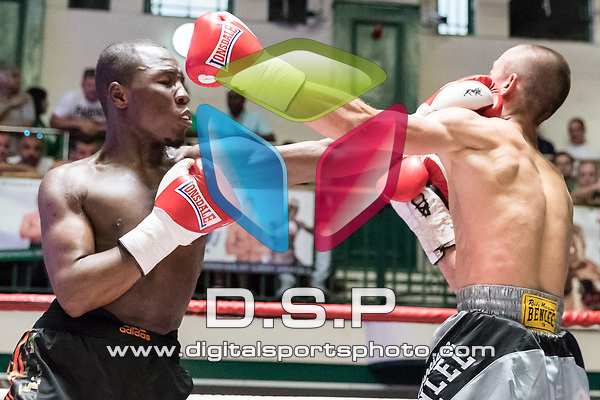 Anesu Twala vs Henrich Herak 4x3 - Welterweight Contest During Goodwin Boxing: Full Throttle. Photo by: Simon Downing.<br /> <br /> Saturday 08th July 2017 - York Hall, Bethnal Green, London, United Kingdom.