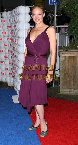 KRISTIN LEHMAN.Fox TCA Party, .Santa Monica, 29th July 2005.full length purple v-neck dress ribbon turquoise sandals shoes .www.capitalpictures.com.sales@capitalpictures.com.© Capital Pictures.