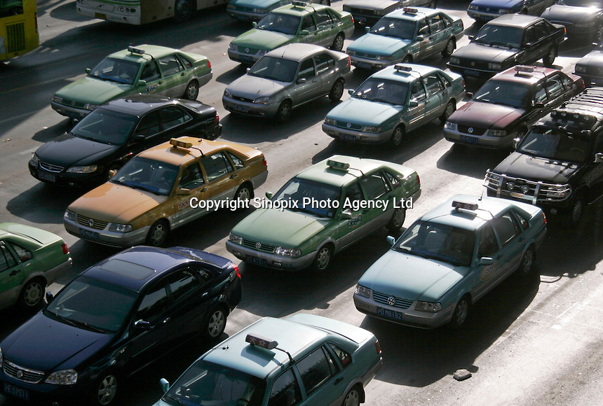 Cars stopped on a major road in Shanghai, China..