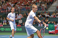 Switserland, Genève, September 19, 2015, Tennis,   Davis Cup, Switserland-Netherlands, Doubles: Dutch team Matwe Middelkoop/Thiemo de Bakker (R) <br /> Photo: Tennisimages/Henk Koster