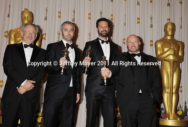 HOLLYWOOD, CA - FEBRUARY 27: Steven Spielberg, Emile Sherman, Iain Canning, and Gareth Unwin pose in the press room during the 83rd Annual Academy Awards held at the Kodak Theatre on February 27, 2011 in Hollywood, California.