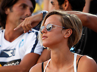 I nuotatori ed ex fidanzati Filippo Magnini e Federica Pellegrini sugli spalti al Beach Volleyball World Tour Grand Slam, Foro Italico, Roma, 21 giugno 2013.<br /> Italian swimmers Filippo Magnini, partially hidden at top right, and Federica Pellegrini, right, sit on the stand at the Beach Volleyball World Tour Grand Slam, Foro Italico, Rome, 21 June 2013.<br /> UPDATE IMAGES PRESS/Isabella Bonotto
