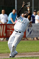 03 September 2011: Mervin Gario of the Vaessen Pioniers catches the ball during game 1 of the 2011 Holland Series won 5-4 in inning number 14 by L&D Amsterdam Pirates over Vaessen Pioniers, in Hoofddorp, Netherlands.