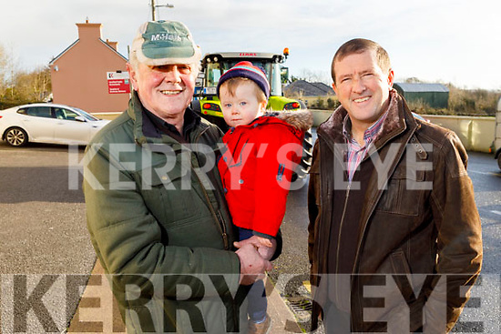 Brendan Barton, Adam Nagle and Donal Ashe at the James Ashe Memorial Tractor Run in Boolteens on Sunday.
