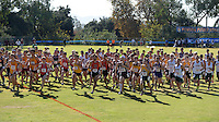 Nov 14, 2015; Claremont, CA, USA; The start of the mens race during the 2015 NCAA Division III West Regionals cross country championships at Pomona-Pitzer College. (Freelance photo by Kirby Lee)