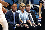 16 December 2014: UNC head coach Sylvia Hatchell (center) with assistant coaches Bill Lee (left) and Andrew Calder (right). The University of North Carolina Tar Heels hosted the Oregon State University Beavers at Carmichael Arena in Chapel Hill, North Carolina in a 2014-15 NCAA Division I Women's Basketball game. Oregon State won the game 70-55.