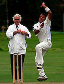 Dundermline CC V Arbroath CC, Scottish National Cricket League, Div One, at McKane Park, Dunfermline - Dunfermline bowler Yasir Arfat bowls past umpire Martin Flynn - Picture by Donald MacLeod 01.08.09 (details in file info)