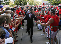 Ohio State players enter the stadium prior to the NCAA football game against the Cincinnati Bearcats at Ohio Stadium in Columbus on Sept. 27, 2014. (Adam Cairns / The Columbus Dispatch)