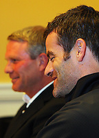 All Whites coach Ricki Herbert and captain Ryan Nelsen..World Cup Football play-off press conference - All Whites v Bahrain build-up at Wellington Town Hall , Wellington. Tuesday, 10 November 2009. Photo: Dave Lintott / lintottphoto.co.nz