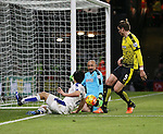 Watford's Heurelho Gomes saves from Leicester City's Shinji Okazaki<br /> <br /> - English Premier League - Watford vs Leicester City  - Vicarage Road - London - England - 5th March 2016 - Pic David Klein/Sportimage