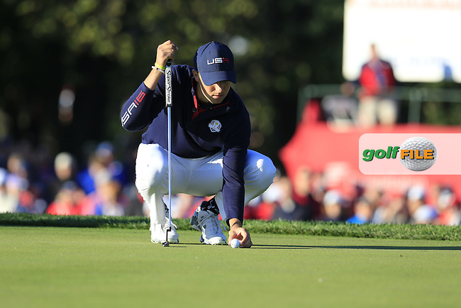 Jordan Spieth US Team on the 2nd green during Saturday Morning Foursomes Matches of the 41st Ryder Cup, held at Hazeltine National Golf Club, Chaska, Minnesota, USA. 1st October 2016.<br /> Picture: Eoin Clarke | Golffile<br /> <br /> <br /> All photos usage must carry mandatory copyright credit (&copy; Golffile | Eoin Clarke)