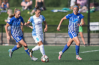 Allston, MA - Saturday August 19, 2017: Julie King, Camila Martins Pereira, Amanda Frisbie during a regular season National Women's Soccer League (NWSL) match between the Boston Breakers and the Orlando Pride at Jordan Field.