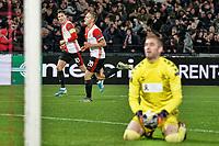 28th November 2019, Rotterdam, Netherlands; Europa League football, Feyenoord versus Glasgow Rangers;  Feyenoord player Jens Toornstra celebrates as he scores for 1-0  - Editorial Use
