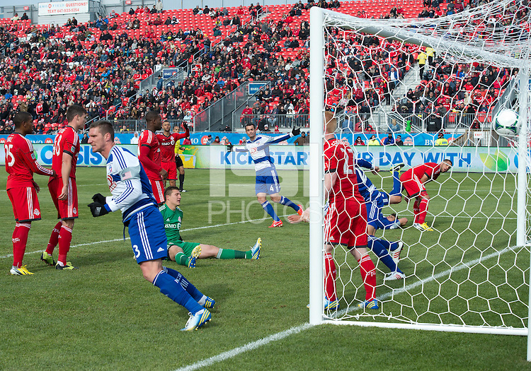 06 April 2013: FC Dallas midfielder Andrew Jacobson #4 scores a goal during an MLS game between FC Dallas and Toronto FC at BMO Field in Toronto, Ontario Canada..The game ended in a 2-2 draw..