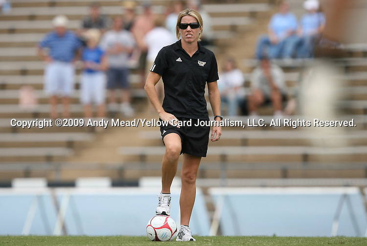 28 August 2009: UCF head coach Amanda Cromwell. The Duke University Blue Devils lost 3-2 to the University of Central Florida Knights at Fetzer Field in Chapel Hill, North Carolina in an NCAA Division I Women's college soccer game.