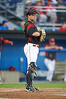 Batavia Muckdogs catcher Jarett Rindfleisch (44) during a game against the Mahoning Valley Scrappers on August 18, 2016 at Dwyer Stadium in Batavia, New York.  Batavia defeated Mahoning Valley 2-1 in twelve innings. (Mike Janes/Four Seam Images)