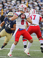 Annapolis, MD - November 11, 2017: Southern Methodist Mustangs quarterback Ben Hicks (8) throws a pass during the game between SMU and Navy at  Navy-Marine Corps Memorial Stadium in Annapolis, MD.   (Photo by Elliott Brown/Media Images International)