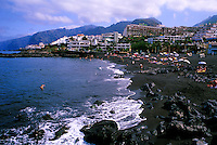 Puerto Santiago with the cliffs of Los Gigantes in the background.Tenerife, Canary Islands,Spain