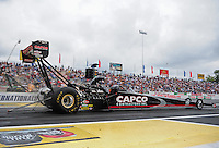 Jun. 1, 2012; Englishtown, NJ, USA: NHRA top fuel dragster driver Steve Torrence during qualifying for the Supernationals at Raceway Park. Mandatory Credit: Mark J. Rebilas-