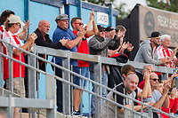 Fleetwood fans clap their side at full time of the Sky Bet League 1 match between Bristol Rovers and Fleetwood Town at the Memorial Stadium, Bristol, England on 26 August 2017. Photo by Mark  Hawkins.