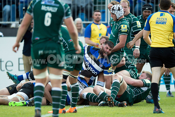 Will Vaughan of Bath Rugby celebrates his first try for the club. Aviva Premiership match, between Bath Rugby and London Irish on May 5, 2018 at the Recreation Ground in Bath, England. Photo by: Patrick Khachfe / Onside Images